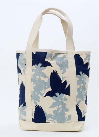 Large Tote Bag Crows - Grey/Navy